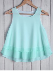 Fashionable Round Collar Solid Color Loose-Fitting Women's Tank Top -