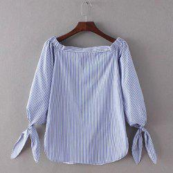 Stylish Women's Pinstriped Off The Shoulder Blouse -