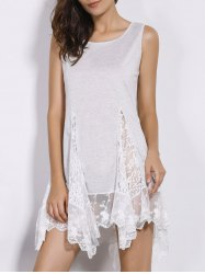 Sweet Scoop Neck White Lace Spliced Dress For Women