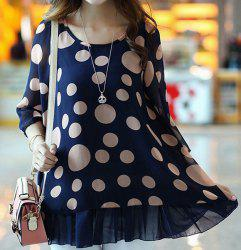 Cute Scoop Neck 3/4 Sleeve Polka Dot Blouse For Women