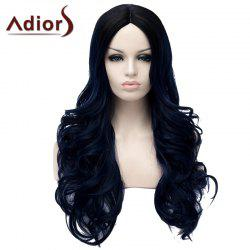 Fashion Black Ombre Dark Blue Middle Part Fluffy Wavy Long Synthetic Adiors Wig For Women -