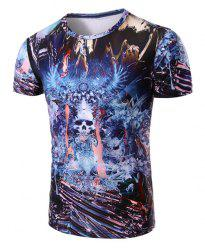 Round Neck Skull Abstract 3D Print Pattern Short Sleeve T-Shirt For Men - COLORMIX