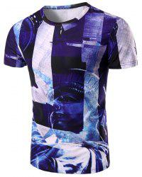 Round Neck Statue 3D Print Pattern Short Sleeve T-Shirt For Men - COLORMIX M