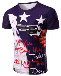 Round Neck Letter and Gun 3D Print Pattern Short Sleeve T-Shirt For Men