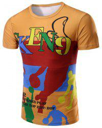 Round Neck Letter and Cartoon 3D Print Pattern Short Sleeve T-Shirt For Men - COLORMIX M