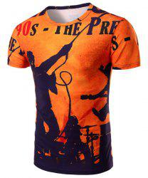 Round Neck Letters and Figure 3D Print Pattern Short Sleeve T-Shirt For Men - ORANGE M