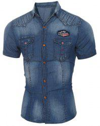 Pockets Turn Down Collar Men's Denim Shirt - DEEP BLUE