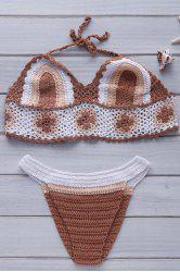 Halter Color Block Crochet Bikini Set - KHAKI ONE SIZE(FIT SIZE XS TO M)