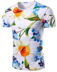 Round Neck Floral 3D Print Pattern Short Sleeve T-Shirt For Men