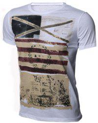 Slimming Round Neck Stripes Ombre Print Short Sleeves T-Shirt For Men - WHITE