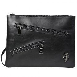 Retro Zips and Cross Design Clutch Bag For Men -