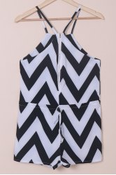 Women's Stylish V-Neck Zig Zag Sleeveless Romper