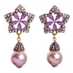 Pair of Faux Gem Pearls Decorated Pentagram Flower Earrings -
