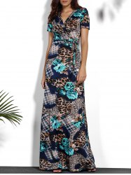 V-Neck Printed Maxi Tropical Dress
