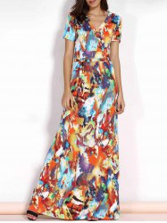 Multicolored Plus Size Maxi Wrap Dress with Short Sleeve