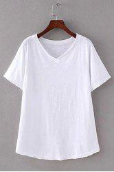 Brief V-Neck Pure Color Short Sleeve T-Shirt For Women -