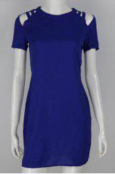 Chic Round Collar Hollow Out Solid Color Short Sleeve Dress For Women -