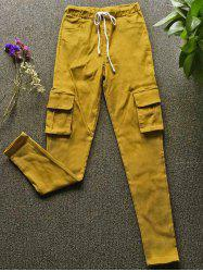 Drawstring Waist Big and Tall Cargo Pants - YELLOW