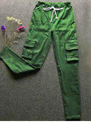 Drawstring Waist Big and Tall Cargo Pants - GREEN S