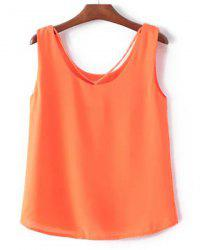 Casual Scoop Collar Solid Color Chiffon Tank Top For Women