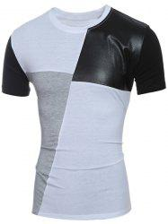 Laconic Round Neck Color Block PU-Leather Spliced Short Sleeve T-Shirt For Men - WHITE M