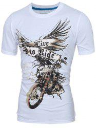 Stylish Round Neck 3D Eagle Print Short Sleeve T-Shirt For Men