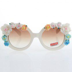 Chic Flower Embellished Hot Summer White Sunglasses For Women -