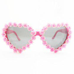 Chic Pink Rose Embellished Hot Summer Heart Shape Frame Sunglasses For Women -
