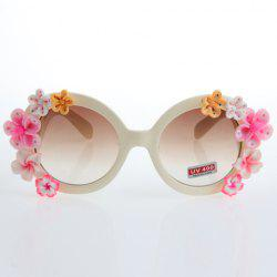 Chic Flower Embellished Hot Summer Beige White Sunglasses For Women -