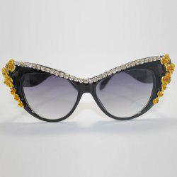 Chic Rhinestone and Flower Embellished Hot Summer Black Cat Eye Sunglasses For Women -