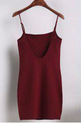 Casual Spaghetti Strap Solid Color Open Back Mini Dress For Women -