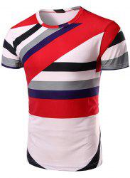 Vogue Round Neck Color Block Stripes Short Sleeve T-Shirt For Men