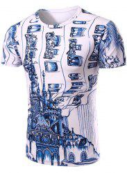Casual Round Neck 3D Abstrat Print Short Sleeve T-Shirt For Men - WHITE