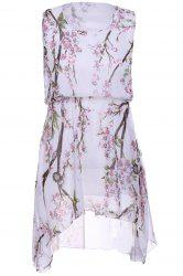 Refreshing Scoop Neck Sleeveless Peach Blossom Print High Low Dress For Women - WHITE ONE SIZE(FIT SIZE XS TO M)