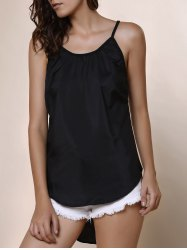 High Low Rounded Hem Cami Tank Top - BLACK XL