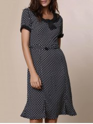 Vintage Scoop Neck Short Sleeve Polka Dot Women's Fishtail Mermaid Dress