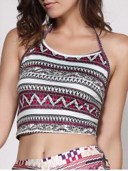 Halter Geometric Print Crop Top - GRAY