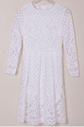 Long Sleeve Hollow Out Lace Summer Wedding Tea Length Dress - WHITE M