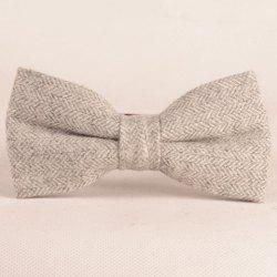 Élégant Double-Deck Herringbone Bow Tie For Men - Gris Clair