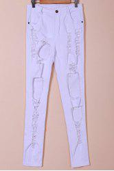 Chic Mid-Waisted Pure Color Hole Design Women's Jeans - WHITE