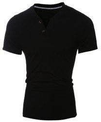 Laconic V-Neck Button Design Short Sleeve T-Shirt For Men - BLACK