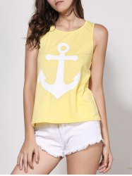 Stylish Scoop Neck Sleeveless Printed Bowknot Embellished Women's Tank Top - YELLOW