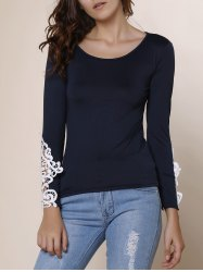 Stylish Scoop Neck Long Sleeve Lace Embellished T-Shirt For Women - DEEP BLUE