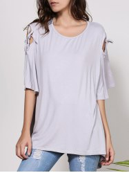 Fashionable Scoop Neck Cut Out Solid Color Short Sleeve T-Shirt For Women -
