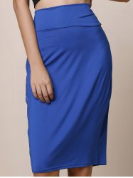 Work Style High-Waisted Solid Color Women's Midi Skirt