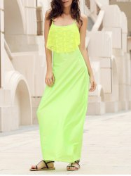 Spaghetti Strap Lace Trim Backless Floor Length Dress - NEON GREEN