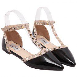 Fashionable Patent Leather and T-Strap Design Flat Shoes For Women -