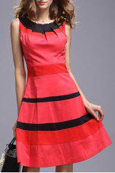 Pleated Neck Color Block Dress -