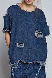 Ripped Denim Blouse -