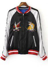 Chic Stand Neck Embroidered Reversible Women's Baseball Jacket